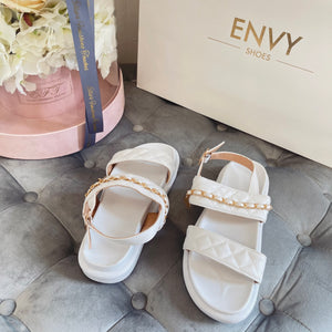 COCO WHITE QUILTED DOUBLE STRAP SANDALS