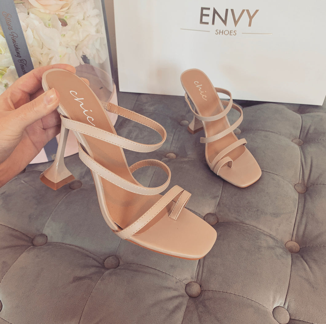 FAYE NUDE STRAPPY HEELED MULES