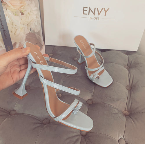 FAYE BABY BLUE STRAPPY HEELED MULES