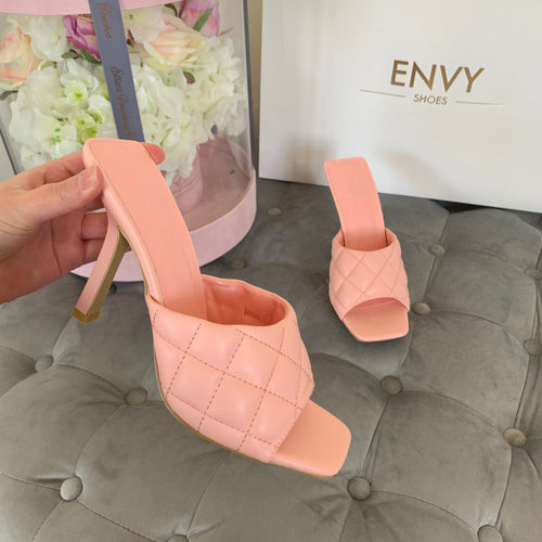KELSEY BABY PINK QUILTED HEELED MULES