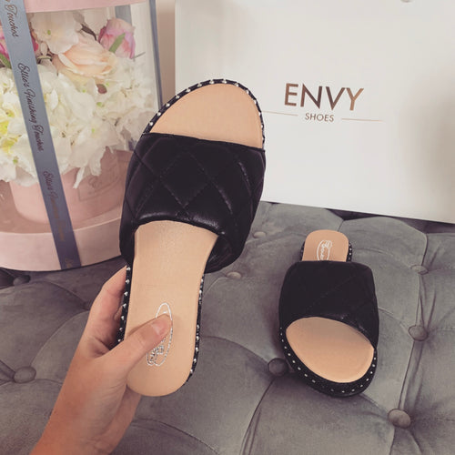 HAYLEY BLACK QUILTED ESPADRILLE SLIDERS