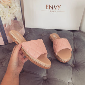 HAYLEY PINK QUILTED ESPADRILLE SLIDERS