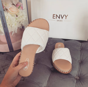 HAYLEY WHITE QUILTED ESPADRILLE SLIDERS