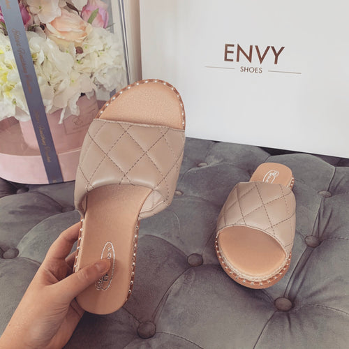 HAYLEY NUDE QUILTED ESPADRILLE SLIDERS