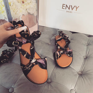 GABBY BLACK SCARF SANDALS