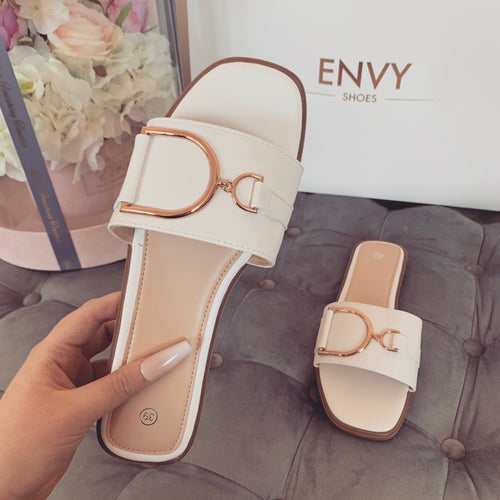 DIDI WHITE BUCKLE SLIDERS