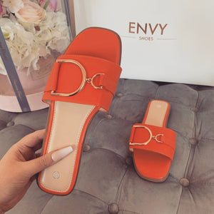 DIDI ORANGE BUCKLE SLIDERS