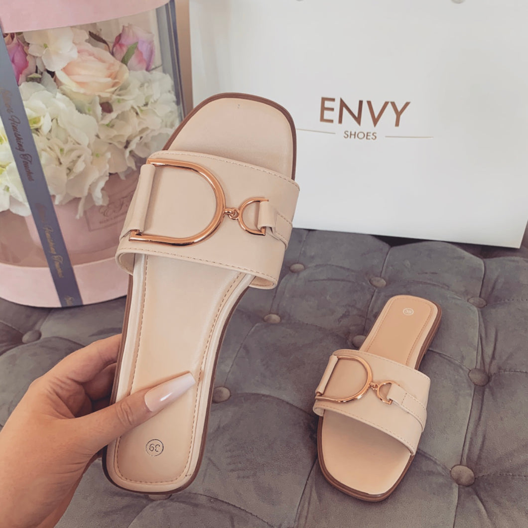 DIDI NUDE BUCKLE SLIDERS