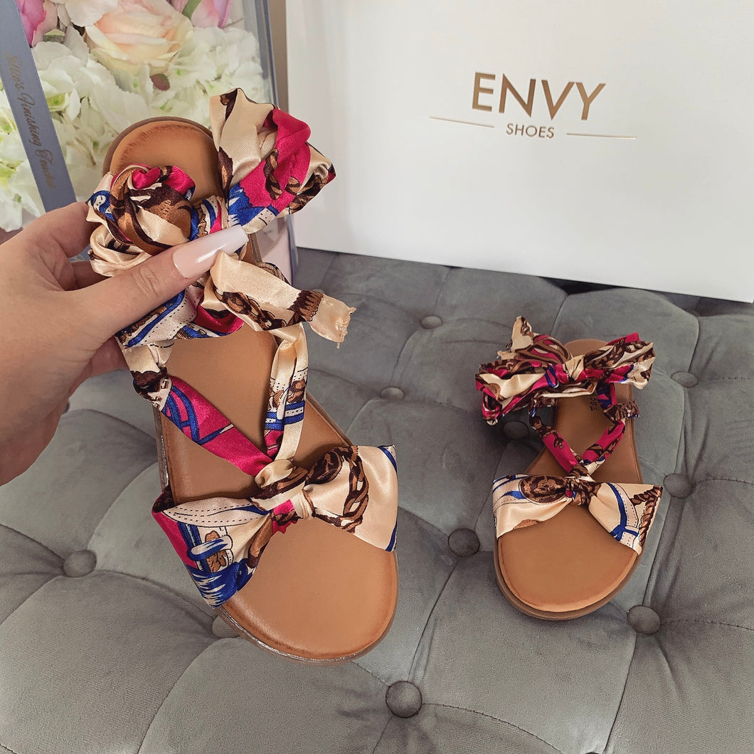 GABBY PINK SCARF SANDALS