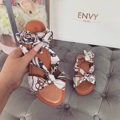 GABBY WHITE SCARF SANDALS
