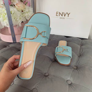 DIDI BLUE BUCKLE SLIDERS