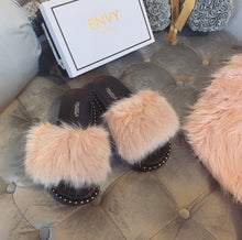 ELIZABETH BLUSH PINK FAUX FUR SLIDES