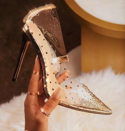 AMBER TURNER 'SHOWSTOPPER' ROSE GOLD PERSPEX HEELS