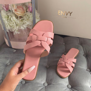 'LOVE ME KNOT' PINK SLIDERS