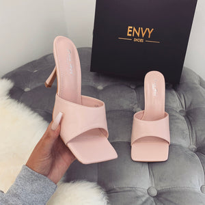 BLAIR PINK SQUARE TOE HEELED MULES