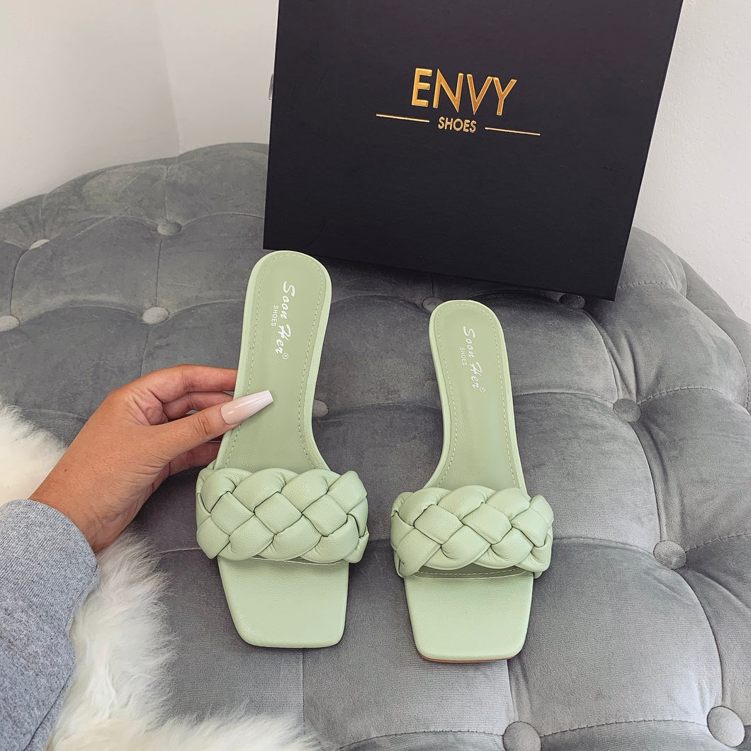 BEATRICE SAGE GREEN QUILTED HEELED MULES