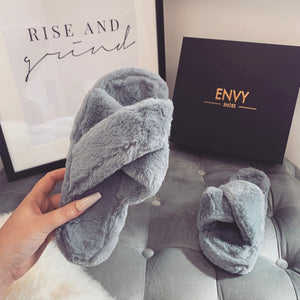 CUDDLE GREY FAUX FUR SLIPPERS