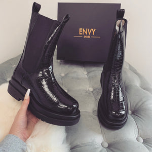 AUTUMN CHUNKY SOLE BLACK CROC BIKER BOOTS