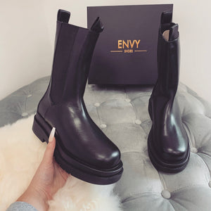 AUTUMN CHUNKY SOLE BLACK PU BIKER BOOTS