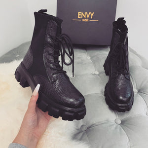 BENTLEY BLACK CROC BIKER BOOTS