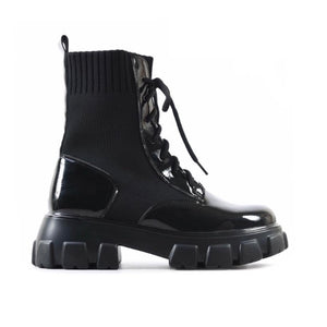 BENTLEY BLACK PATENT BIKER BOOTS