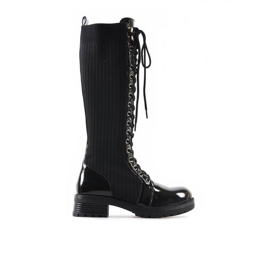 DENIKA KNEE HIGH LACE UP BOOTS