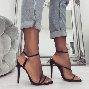 ALICIA BLACK TOGGLE STRAPPY HEELS
