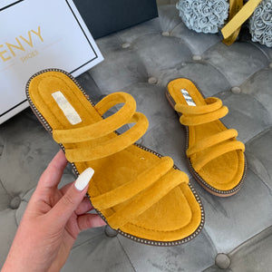 SOPHIE YELLOW STRAPPY SLIDERS