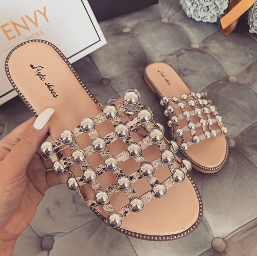 MADISON STUDDED CAGED SNAKE SLIDERS