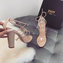 TARA NUDE LACE UP HEELS