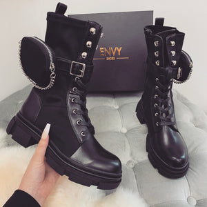 GINA BLACK CHAIN POCKET BIKER BOOTS