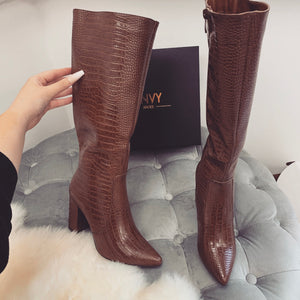 ELLA TAN CROC KNEE HIGH BOOTS