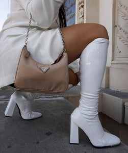 ELEANOR WHITE PATENT TOE CAP KNEE HIGH BOOTS