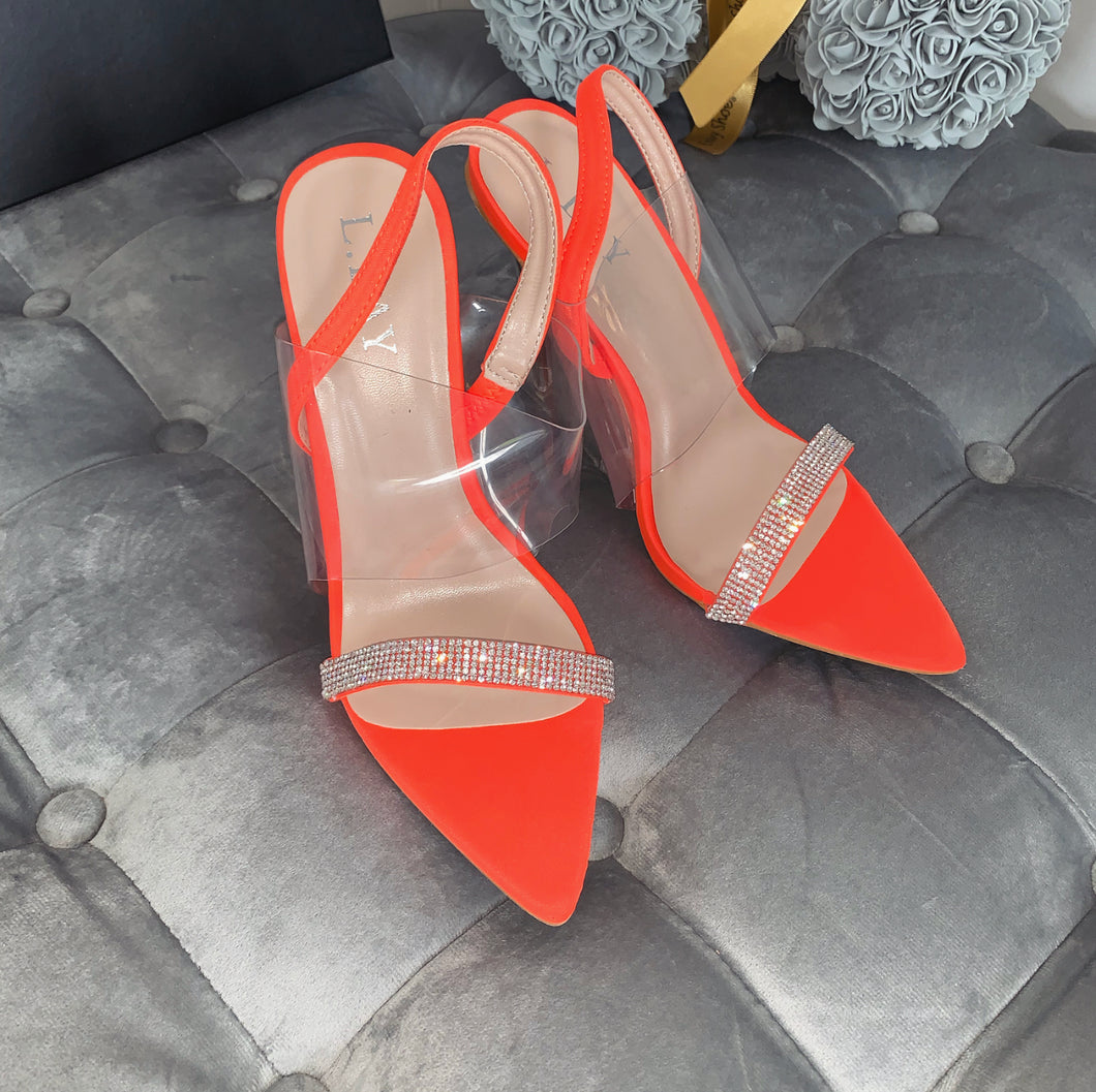VANESSA NEON ORANGE DIAMANTE PERSPEX SANDAL HEELS