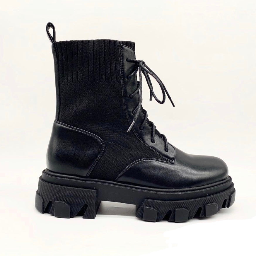 BENTLEY BLACK PU BIKER BOOTS