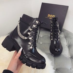 STORMI BLACK DIAMANTE CHAIN BIKER BOOTS