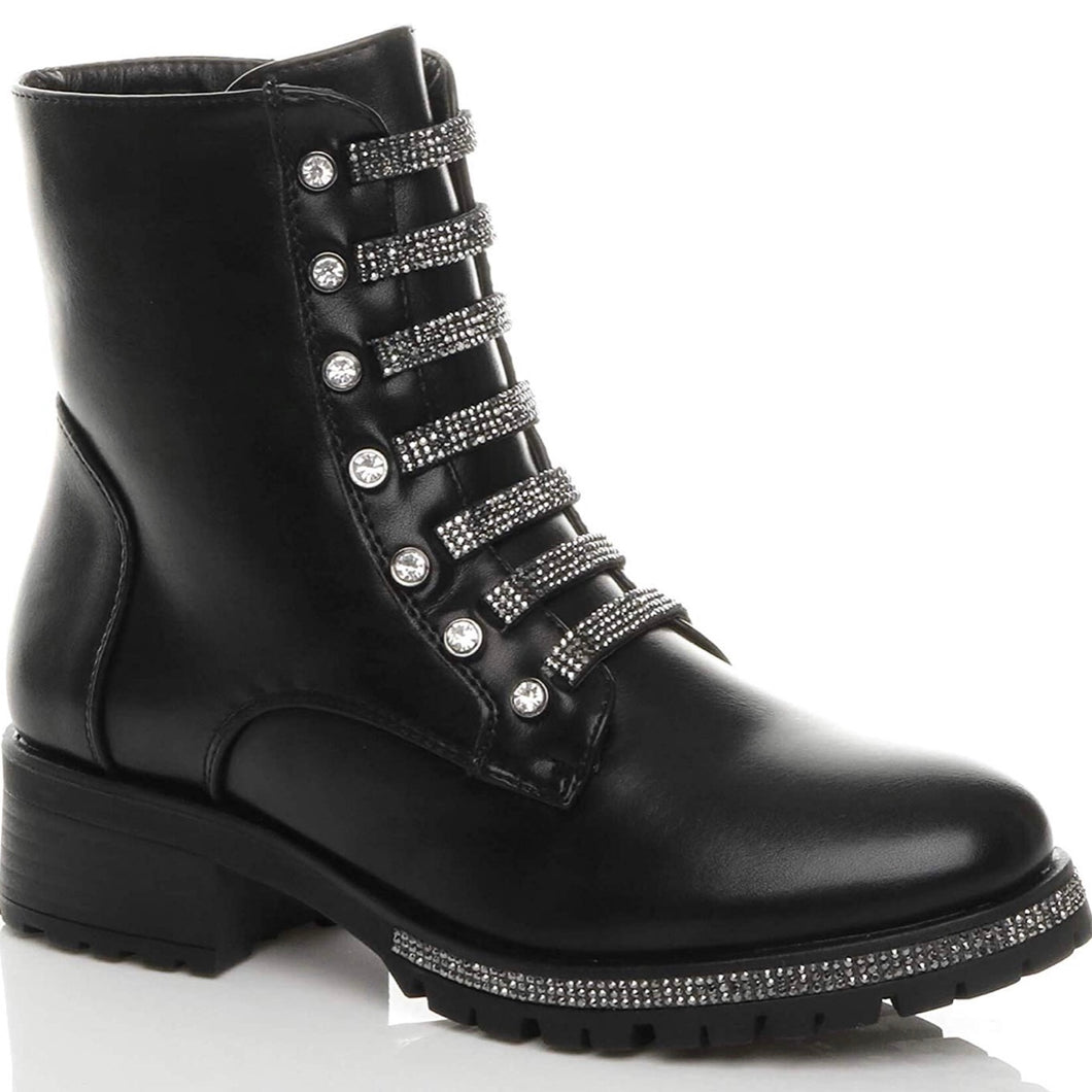 RACHEL BLACK DIAMANTE BUCKLE BIKER BOOTS