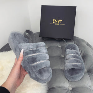 SNUGGLE DIAMANTE GREY FAUX FUR SLIPPERS