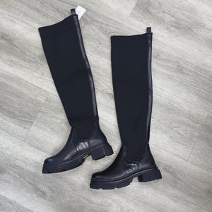 ELOISE OVER THE KNEE CHUNKY SOLE BLACK SOCK BOOTS