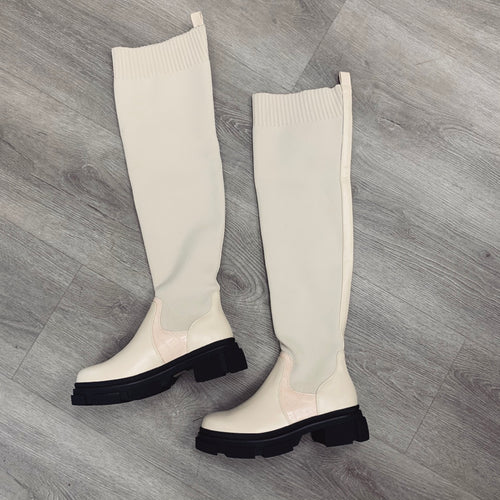 ELOISE OVER THE KNEE CHUNKY SOLE CREAM SOCK BOOTS