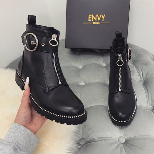 DYLAN BLACK AND SILVER STUDDED CHELSEA BOOTS