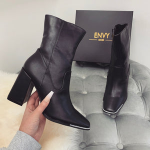 ELODIE BLACK PU TOE CAP ANKLE BOOTS