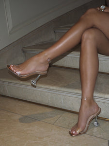 AMBER TURNER 'LET'S BE CLEAR' ROSE GOLD PERSPEX HEELS