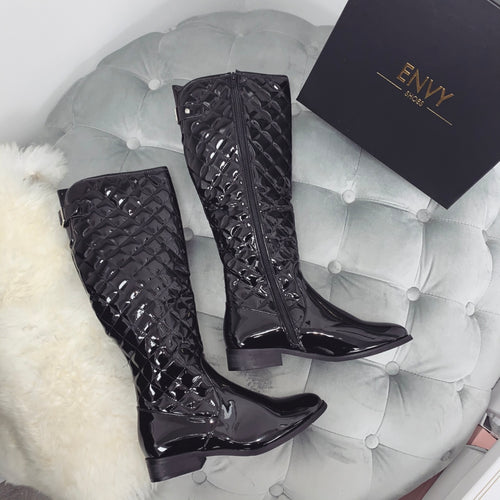 KEIRA BLACK PATENT QUILTED BOOTS