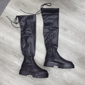 DELILAH OVER THE KNEE CHUNKY SOLE BOOTS