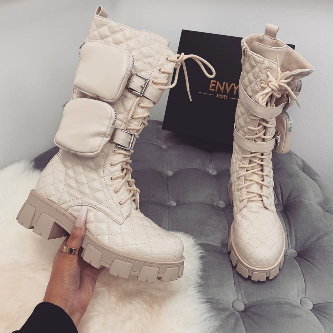 FELICITY NUDE QUILTED CHUNKY POCKET BOOTS