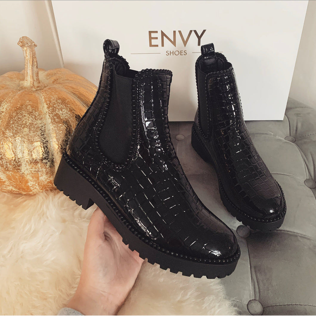 URSULA ALL BLACK CROC STUDDED CHELSEA BOOTS
