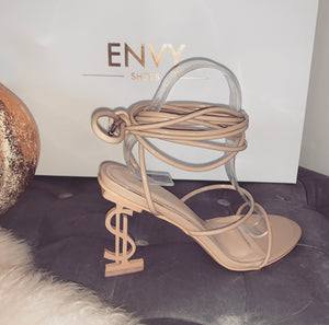 'THE BU$INE$$' DOLLAR SIGN NUDE STRAPPY HEELS