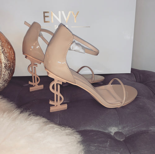 'HU$TLE' DOLLAR SIGN NUDE STRAPPY HEELS