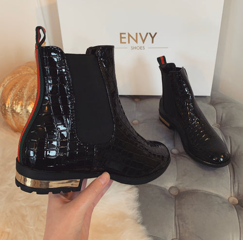 EVA BLACK PATENT CROC CHELSEA BOOTS WITH RED STRIPE